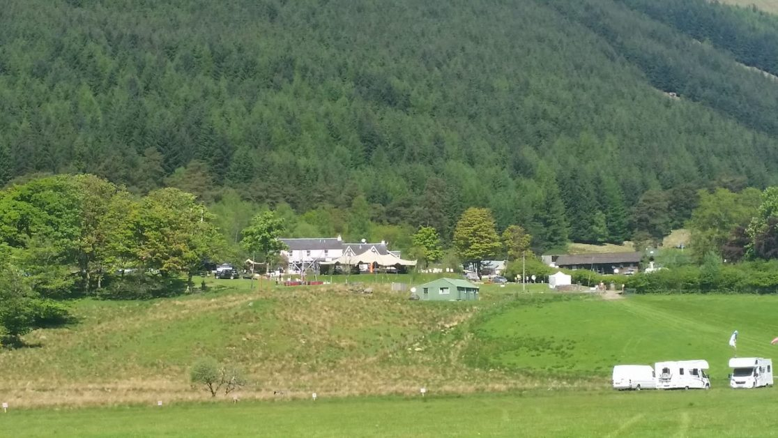 View of Monachyle Mhor hotel from campsite