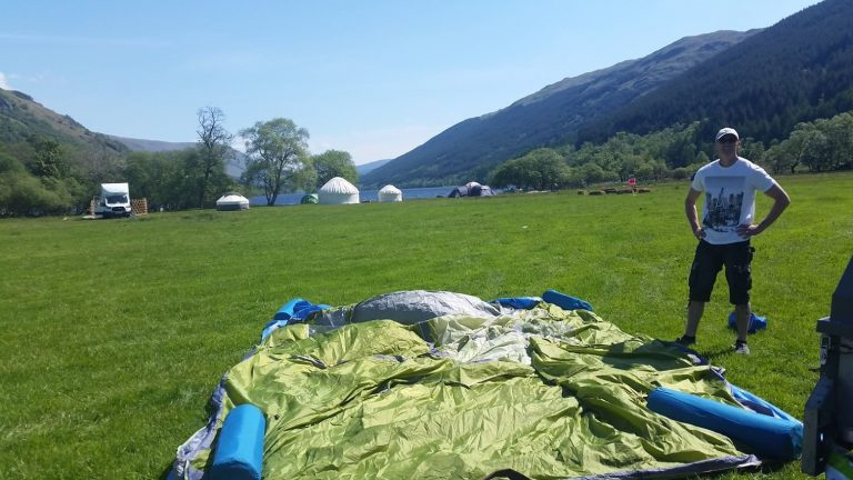 Setting up camp at Mhor Fest